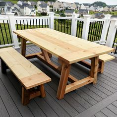 DIY Truss Beam Farmhouse Style Outdoor Table and Benches (Restoration Hardware Inspired) DIY- Farmhouse table build, truss beam table, outdoor table, woodworking project, table constructio Outdoor Farmhouse Table, Farmhouse Table Plans, Diy Outdoor Table, Patio Table, Diy Table, Farmhouse Style, Outdoor Spaces, Cedar Table, Farmhouse Table With Bench