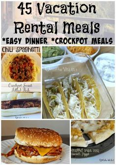 45 Vacation Rental Meals Are you planning on cooking your own meals on your vacation but don't want to spend all day in the kitchen? Check out these easy or crockpot meals that will save you money & time in the kitchen. Save the pin and all the amazing Vacation Meal Planning, Beach Vacation Meals, Beach Meals, Vacation Food, Vacation Ideas, Beach Snacks, Family Vacations, Food For Beach, Menu Planning