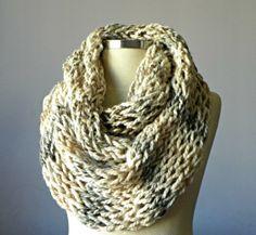 Knitted Cowl Scarf Neck Warmer Cream Handmade winter by yarnisland, $35.00