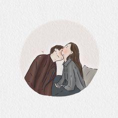 596 Likes, 21 Comments - Cartoon Gifs, Cartoon Art, Lee Min Ho, Kdrama, Korean Drama Romance, Bride Of The Water God, Cute Couple Wallpaper, Descendents Of The Sun, Cute Couple Cartoon