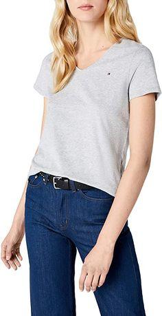 Schlicht und gut  Bekleidung, Damen, Tops, T-Shirts & Blusen, T-Shirts Loose Fit, Tommy Hilfiger Damen, Shirt Bluse, Trends, One Shoulder, Shirts, V Neck, Tops, Fashion