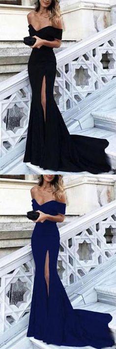 Sexy Leg Slit Long Mermaid Evening Dress Off Shoulder Prom Gowns Prom Dress Sexy Prom Dress Evening Dresses Mermaid Prom Dresses 2019 Mermaid Bridesmaid Dresses, Prom Dresses 2018, Black Prom Dresses, Mermaid Dresses, Elegant Dresses, Sexy Dresses, Formal Dresses, Dress Black, Prom Gowns