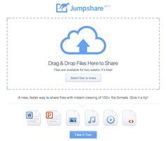 Jumpshare comparte archivos de hasta 100 megas, solo tienes que arrastrar y soltar.   http://jumpshare.com/