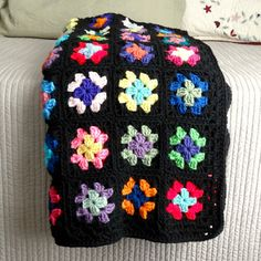 Granny Square Afghan Crochet Blanket Retro by ReneeBrownsDesigns