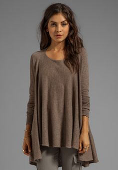 Autumn Cashmere Convertible Flare Tunicdrape Cardigan in Taupe in Brown (Rye)
