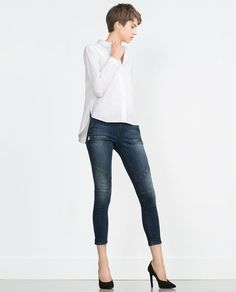 Image 1 of ZIPPED BIKER JEANS from Zara