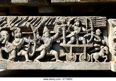 War scene carved on wall of hoysaleswara temple ; Halebid Halebidu ; Hassan ; Karnataka ;
