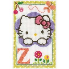 Kit tableau point de croix hello kitty lettre z de Vervaco
