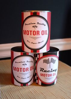 Printables from HH Paper on Etsy turned soup cans into awesome cans of racing oil! -- SomersetCakes.com