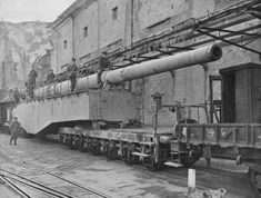 """warisstupid: Captured German 280-mm railway gun Krupp K5, bombarded the Allies at Anzio. In Italy, there were two guns in its class with the name """"Robert"""" and """"Leopold"""", nicknamed by the Americans as """"Anzio Annie"""" and """"Anzio Express"""". Both guns were seized by the Allies in June 1944 in Civitavecchia, Italy.Read more: http://histomil.com/viewtopic.php?f=4&t=5627&start=10#ixzz3Xh8fiW8W"""