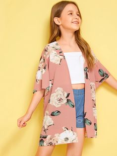 Girls Drop Shoulder Open Front Floral Print Kimono Check out this Girls Drop Shoulder Open Front Floral Print Kimono on Shein and explore more to meet… – Preteen Clothing Preteen Girls Fashion, Teenage Girl Outfits, Girls Fashion Clothes, Kids Outfits Girls, Cute Girl Outfits, Cute Outfits For Kids, Teen Fashion Outfits, Cute Casual Outfits, Stylish Outfits