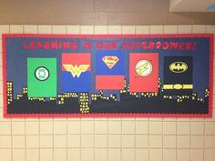 "Here is my ""superhero themed"" bulletin board Superhero Classroom Door, Superhero Bulletin Boards, Library Bulletin Boards, Classroom Themes, School Decorations, School Themes, School Ideas, Beginning Of The School Year, Back To School"