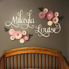 Name Sign Cutout - Nursery Baby Name Wall Hanging - Backdrop Name Decor - Calligraphy Wooden Name - Hula Hoop Wreath Name - Wall Art Painted Wood Letters, Wooden Monogram, Wooden Names, Wooden Letters, Paper Flower Wall, Paper Flower Backdrop, Flower Wall Decor, Paper Flowers, Wall Flowers