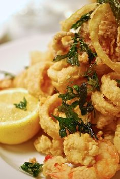 seafood fritto misto..also could use small pieces of meat or vegetables, dip in batter and deep fry...any seafood can be used, delicious!