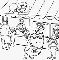 Minion Buy A Ice Cream Before The Ice Cream Shop Minion Coloring Pages Coloring Pages Free Coloring Pages