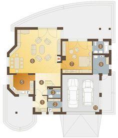 Rzut parteru projektu Kraska z garażem 2-st. [A] 20 M2, Modern House Design, Home Fashion, House Plans, Floor Plans, How To Plan, House Styles, Home Decor, Billionaire