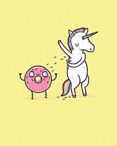 unicorn dancing with a donut