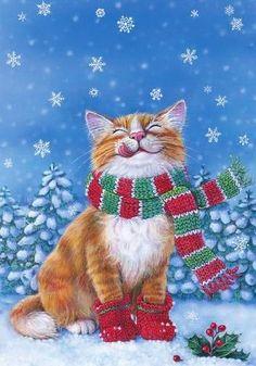 Cat enjoying winter landscape
