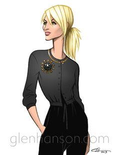 casual chic illustration of the beautiful @nicole ehrlich by @GlenHansonNYC
