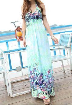 3882254c2f9 Bohemian Style Halterneck Printed Backless Women s Maxi Dress