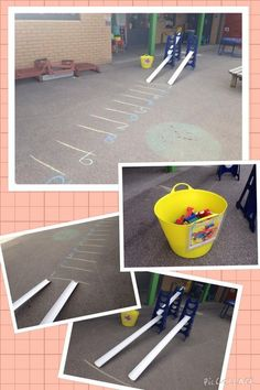 A really popular outdoor maths activity for that also promoted a lot of talk. A really popular Maths Eyfs, Numeracy Activities, Eyfs Classroom, Nursery Activities, Outside Activities, Outdoor Classroom, Classroom Activities, Outdoor Preschool Activities, Reception Classroom Ideas