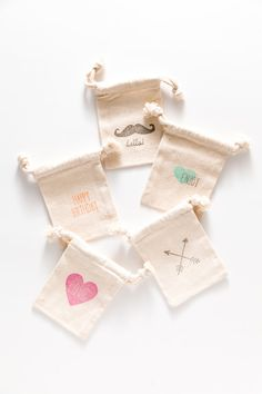 Muslin Bags :) They just feel right, customize them your way with the stamps you like. Party Bags 10 Muslin Bags For Party Favors Your by SucreShop, $20.00