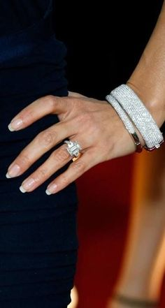 Eva Longoria's Bling: From Tony Parker was a 5-carat emerald-cut diamond in white gold designed by French Jeweler Jean Dousset