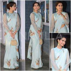 Khoobsurat Lady Sonam Kapoor in Raw_Mango! Saree Blouse Patterns, Saree Blouse Designs, Bollywood Saree, Bollywood Fashion, Indian Dresses, Indian Outfits, Stylish Sarees, Saree Look, Elegant Saree