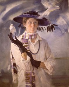 "Mary Whyte (American, 1953)  Self Portrait ~ ""When I Grow Old I Shall Wear Purple""  ~  Mary Whyte lives and works in South Carolina, and her favorite subjects are the people of this region."