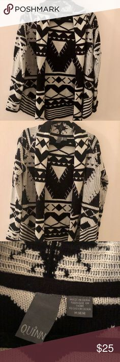 Tribal Sweater Black & Ivory Tribal Sweater. In excellent condition. Worn once. Size Medium Quinn Sweaters Cardigans