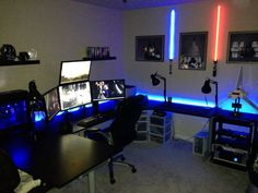 nice computer chairs pottery barn irving chair reviews 109 best caves images in 2019 pc setup computers gamer room accessories furniture inspire with desk and comfortable gaming also cool monitor arranged plus unique lighting