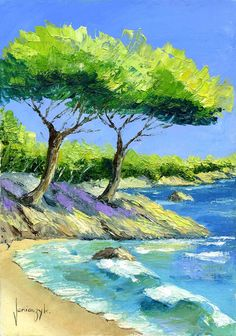 """""""Seaboard"""" oil on canvas painted with palette knives Jean-Marc JANIACZYK Watercolor Trees, Watercolor Landscape, Landscape Art, Landscape Paintings, Watercolor Paintings, Guache, Art Club, Pictures To Paint, Painting Inspiration"""