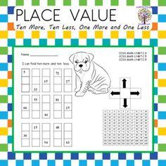 Ten More, Ten Less, One More One Less | TpT First Grade Lessons, Second Grade Math, Kindergarten Teachers, Elementary Teacher, Adding And Subtracting, Place Values, Student Engagement, Teacher Resources, Phonics