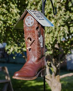 Hey, I found this really awesome Etsy listing at https://www.etsy.com/listing/210973840/western-cowboy-boot-bird-house
