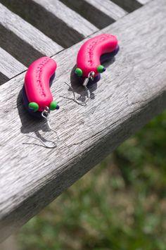 Polymer Clay Slug Earrings pink and purple by AmigurumiByAli, $13.00