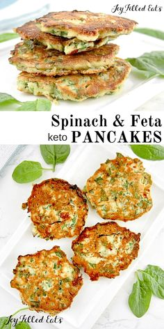 Low Carb Recipes Spinach Feta Pancakes - Low Carb, Keto, THM S, Grain-Free, Gluten-Free - These spinach feta savory pancakes make a great low carb breakfast for those with a savory palate. They also make a healthy light lunch. Quick Keto Breakfast, Healthy Breakfast Recipes, Healthy Recipes, Low Card Breakfast Ideas, Banting Breakfast, Healthy Filling Breakfast, Breakfast Spinach, Breakfast Frittata, Ketogenic Breakfast