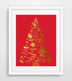 SALE  Gold Christmas Tree print Christmas Tree Wall by Ikonolexi
