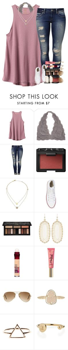"""""""it was her chaos that made her beautiful."""" by ellaswiftie13 ❤ liked on Polyvore featuring RVCA, Mavi, NARS Cosmetics, Michael Kors, Converse, Kat Von D, Kendra Scott, Maybelline, Ray-Ban and Sarah Chloe"""