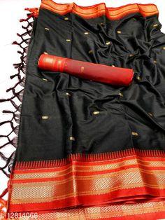Sarees Hirkal Traditional Paithani Silk Sarees With Contrast Blouse Piece (H7_Black & Red)  Saree Fabric: Silk Blend Blouse: Separate Blouse Piece Blouse Fabric: Silk Blend Pattern: Woven Design Blouse Pattern: Woven Design Multipack: Single Sizes:  Free Size (Saree Length Size: 5.3 m, Blouse Length Size: 0.8 m)  Country of Origin: India Sizes Available: Free Size   Catalog Rating: ★4 (454)  Catalog Name: Aakarsha Fashionable Sarees CatalogID_2303917 C74-SC1004 Code: 956-12814066-1371