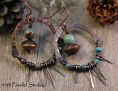 Rustic Blue Jasper Copper Hoop Earrings by 45thParallelStudio