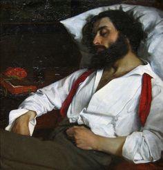 Carolus-Duran, L'Homme endormi (The Sleeping Man), 1861 Beauty In Art, Male Beauty, Sleeping Man, Sloth Sleeping, Jean Leon, John William Godward, Tableaux Vivants, L'art Du Portrait, Dante Gabriel Rossetti