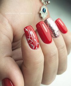 36 Romantic Red Acrylic Nail Art 2019 To Look Classy – Nails Models Red Acrylic Nails, Red Nail Art, Red Nails, Acrylic Art, Holiday Nails, Christmas Nails, Cute Nails, Pretty Nails, Glitter Manicure