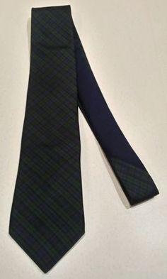 TOMMY HILFIGER 100% Silk Tie Men green with navy Blue Striped Necktie
