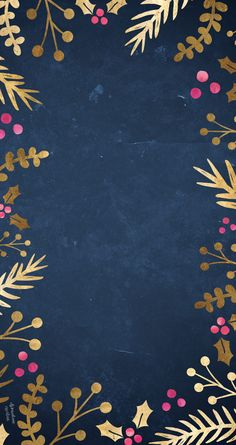 Dark Blue Christmas Wallpaper Bordered With Gold Foliage And Pink Berries