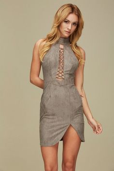 Faux Suede Heather Dress - 100% polyester - Machine wash cold