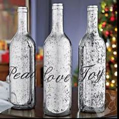 Holiday Wine Bottle Idea!  I LOVE THIS!  I will supply somebody with a lot of bottles if you'll make a set for me.  I think I might like them in gold -- would be great by my decor.