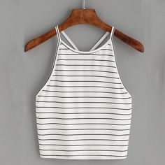 Bella Striped Halter Top - Tank Tops - Ideas of Tank Tops - girl heaven online shop Cropped Tops, Cute Crop Tops, Striped Cami Tops, Look Retro, Plus Size Tank Tops, Fashion Outfits, Womens Fashion, Ootd Fashion, Fashion Ideas