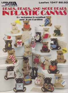 Bears, Bears & More Bears, Leisure Arts Plastic Canvas Pattern Booklet 1347…