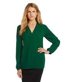Cremieux Juno VNeck Blouse #Dillards  Don't like the style, but I love the color!