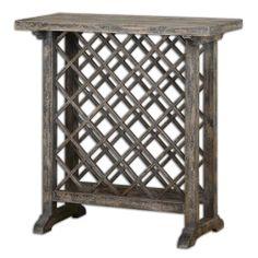 Elegant WEATHERED WOOD Wine Rack Table Lattice Gray Rustic Distressed Accent #Cottage  $261